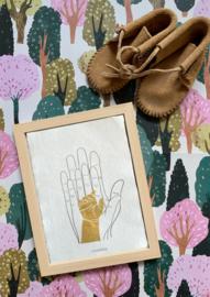 A6 of A5 kaart handen (met de hand beschilderd)