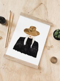 A4 poster vrouw met hoed