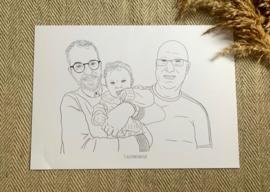 Lijntekening portret  zwart-wit , vanaf €40,-
