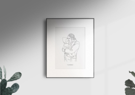 Lijntekening zwart-wit portret