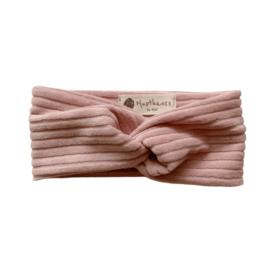Haarband twist - Rib oud roze