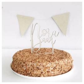 Houten taarttopper - Naam en leeftijd