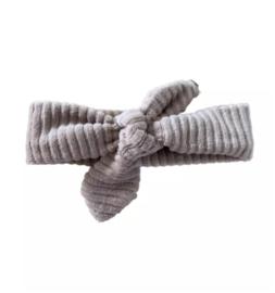 Haarband met strik - Taupe rib