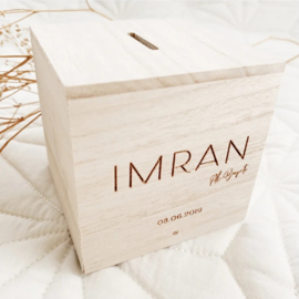 Spaarpot van hout - Imran