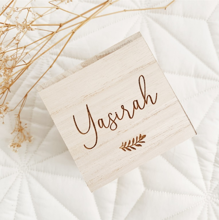 Spaarpot van hout - Yasirah