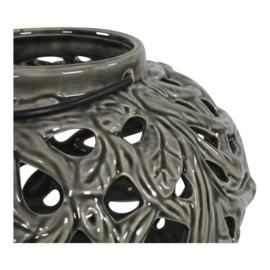 Windlicht keramiek rond Ø 20,5cm - oud zwart
