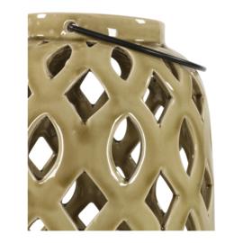 Windlicht keramiek ovaal oud beige