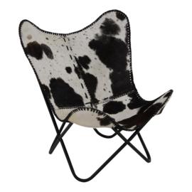 Vlinderstoel Cow Zwart/wit