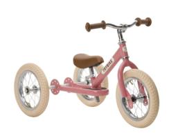 Trybike Steel 2 in 1 driewieler loopfiets vintage pink