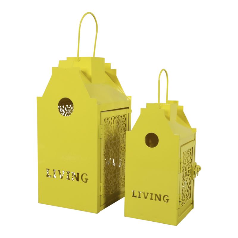 2 Windlicht vogelhuisjes metaal geel