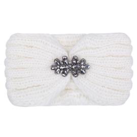Haarband ivoor wit met stenen
