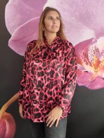 Blouse met strik panterprint  roze