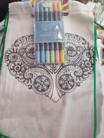 Rugzakje hart  met textielmarkers  pastel