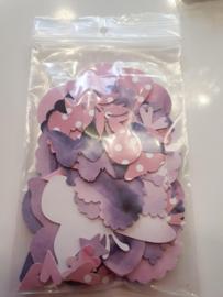 Stansjes papier donker dubbelzijdig lila roze tinten