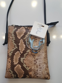 Cadeausetje tasje snake met armbandje blauw