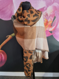 Warme sjaal 2 kanten draagbaar bruin