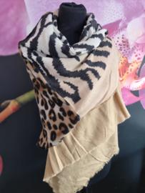 Warme sjaal panter zebra beige bruin