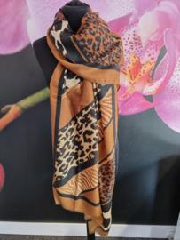 Sjaal in prachtige  bruine panter print
