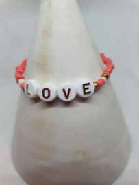 Armbandje love koraal rood met wit