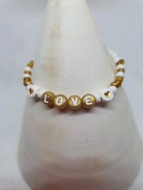 Armbandje Love goud wit