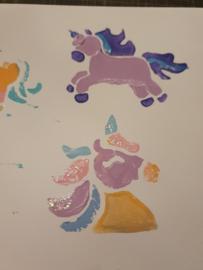 Kaarten maken met foam stempels unicorn