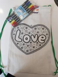 Rugzakje Love met textielmarkers