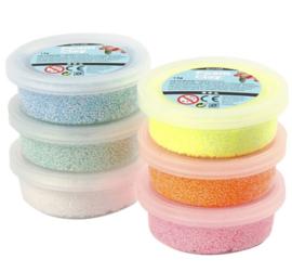 Foam Clay glitter roze geel blauw groen wit oranje