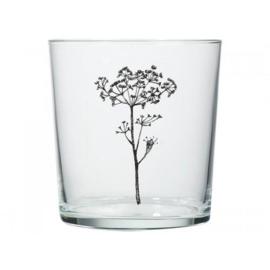 Glas met ingegraveerde bloemenprint
