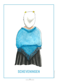 Vrouw in Scheveningse dracht- Poster A4