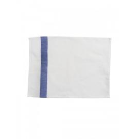 Witte placemat met donkerblauwe streep