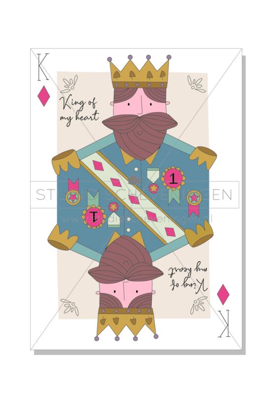 King of my heart   Valentijnsdagkaart dubbel - Studio Scheveningen