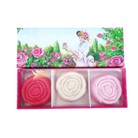 Doosje met drie rozenzeepjes - La Tulipe Jaune