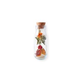 Droogbloemen in een melk flesje - M oranje of naturel