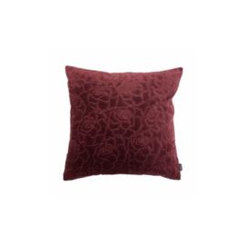 Kussen - Rose embroidery Bordeaux 45x45xm