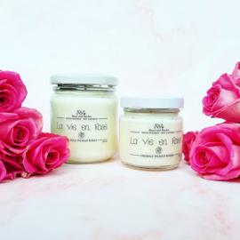 Soja geurkaars - La vie en rose, vers geplukte rozen