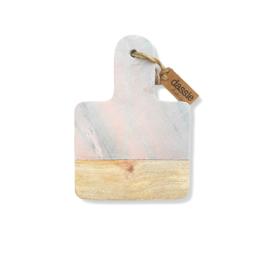 Snijplank - Mango hout, marble pink