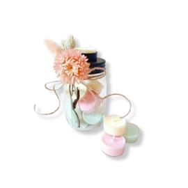 Pot gevuld met handgemaakte waxinelichtjes - Roses and Ruches