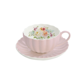 Porselein theekop - Royal Pink - Easy life