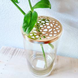 Vaas glas met gouden insteek deksel