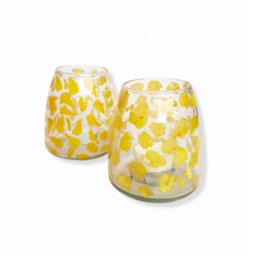 Windlicht - Gele bladeren glas - M