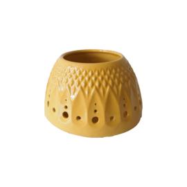 Waxinelichthouder - keramiek - geel - druppel