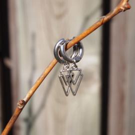Creolen zilver  - DOUBLE TRIANGLE
