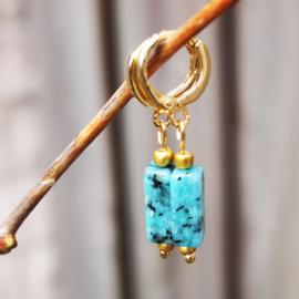 Oorhangers goud TUBES - Pagoda blue