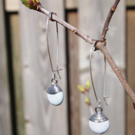Oorhangers zilver WIRE - Blue agate