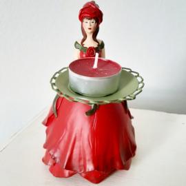 Bloemenmeisjes kaarsenhouder - Rode rozenmeisje