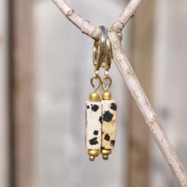 Oorhangers goud TUBES - Spotted stone