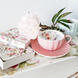Porselein theekopje - Royal Pink - Easy life