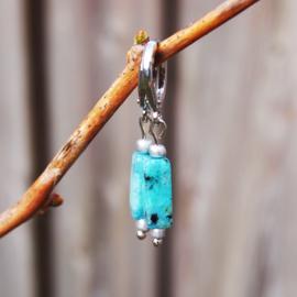 Oorhangers zilver TUBES - Pagoda blue
