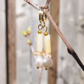 Oorhangers goud TUBES - Yellow pearl