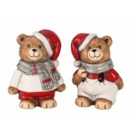 12 x Kerstbeer met grijze sjaal h9cm 2 ass.   5917